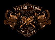 Ilustração do vintage de máquinas da tatuagem em um fundo escuro ilustração royalty free