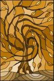 A ilustração do vitral com a árvore de salgueiro do outono no fundo do céu, tonifica o marrom, sepia ilustração do vetor