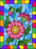 Ilustração do vitral com as três flores, botões e folhas cor-de-rosa brilhantes em um fundo azul em um quadro Fotos de Stock Royalty Free
