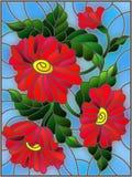 Ilustração do vitral com as três flores, botões e folhas vermelhos brilhantes em um fundo azul Imagem de Stock