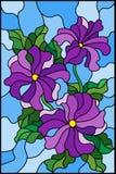 Ilustração do vitral com as três flores roxas brilhantes do petúnia, dos botões e das folhas em um fundo azul Imagens de Stock