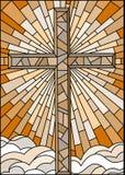 Ilustração do vitral com a cruz cristã em um fundo do céu e das nuvens, tom marrom, Sepia ilustração do vetor