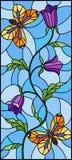 Ilustração do vitral com a flor roxa encaracolado abstrata e uma borboleta alaranjada no fundo azul, imagem vertical Imagem de Stock Royalty Free