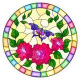 Ilustração do vitral com flores e as folhas cor-de-rosa da rosa do rosa, e imagem redonda da borboleta roxa em um quadro brilhant Fotos de Stock
