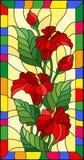 A ilustração do vitral com flores, os botões e as folhas do Calla florescem em um quadro brilhante Fotografia de Stock