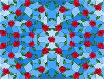 Ilustração do vitral com fundo floral abstrato, as rosas entrelaçadas vermelhas e as folhas no fundo azul ilustração do vetor