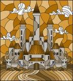 A ilustração do vitral com o castelo antigo no fundo do céu nebuloso do dia, tonifica o marrom, Sepia ilustração stock