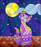 Ilustração do vitral com o gato roxo que senta-se no telhado da casa no fundo da lua e do céu Fotografia de Stock