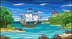 Ilustração do vitral com opiniões do mar, navio de navigação e o farol na baía rochosa no fundo do mar ilustração stock