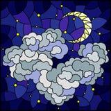 Ilustração do vitral com paisagem celestial, a nuvem macia no fundo do céu estrelado e a lua, imagem quadrada ilustração stock