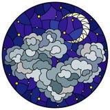 Ilustração do vitral com paisagem celestial, a nuvem macia no fundo do céu estrelado e a lua, imagem redonda ilustração royalty free