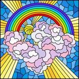 Ilustração do vitral com paisagem celestial, sol e nuvens no fundo do arco-íris, imagem quadrada ilustração royalty free