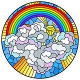 Ilustração do vitral com paisagem celestial, sol e nuvens no fundo do arco-íris, imagem redonda ilustração stock