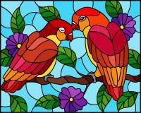 Ilustração do vitral com pares de papagaios vermelhos dos pássaros na árvore do ramo com as flores roxas contra o céu ilustração stock