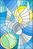 Ilustração do vitral com pombo abstrato e o sol no céu Imagem de Stock