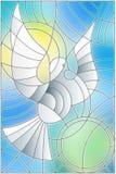Ilustração do vitral com pombo abstrato e o sol no céu Imagens de Stock Royalty Free