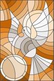 A ilustração do vitral com pombo abstrato e o sol no céu, tonifica o marrom Imagens de Stock