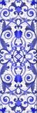 Ilustração do vitral com redemoinhos abstratos, flores e folhas em um fundo claro, azul vertical da gama da orientação ilustração do vetor