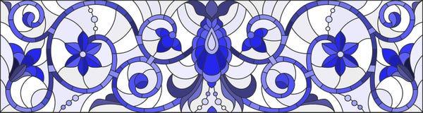 Ilustração do vitral com redemoinhos abstratos, flores e folhas em um fundo claro, orientação horizontal, azul da gama ilustração do vetor