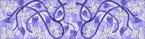 Ilustração do vitral com redemoinhos abstratos, flores e folhas em um fundo claro, orientação horizontal, azul da gama Imagens de Stock