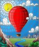 Ilustração do vitral com um balão de ar encarnado que voa sobre uma planície com um rio em um fundo das montanhas, céu nebuloso ilustração stock