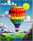 Ilustração do vitral com um balão de ar quente do arco-íris que voa sobre uma planície com um rio em um fundo das montanhas, s ne ilustração royalty free