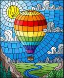 Ilustração do vitral com um balão de ar quente do arco-íris que voa sobre uma planície com um rio em um fundo das montanhas, SK n ilustração stock