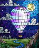 Ilustração do vitral com um balão de ar quente leve que voa sobre uma planície com um rio em um fundo das montanhas, céu estrelad ilustração stock