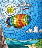 Ilustração do vitral com um dirigível do arco-íris que voa sobre uma planície com um lago em um fundo das montanhas, do céu nebul ilustração royalty free