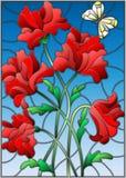 Ilustração do vitral com um ramalhete de papoilas vermelhas e de uma borboleta no fundo do céu azul Foto de Stock Royalty Free