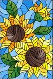 Ilustração do vitral com um ramalhete dos girassóis, das flores, dos botões e das folhas da flor no fundo azul ilustração royalty free