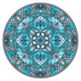Ilustração do vitral, imagem invertida redonda com ornamento florais e redemoinhos ilustração do vetor