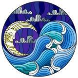 A ilustração do vitral que pinta o mar abstrato da paisagem acena no fundo do céu e das nuvens com lua, illustrat redondo ilustração stock