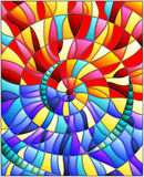 A ilustração do vitral, telhas coloridas arranjou em uma espiral Imagem de Stock