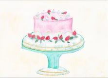 Ilustração do Watercolour de uma madalena Imagem de Stock