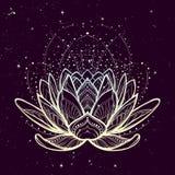 Ilustração do zen da flor dos lótus Desenho linear estilizado intrincado no fundo estrelado do céu do nignt Foto de Stock Royalty Free