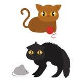 Ilustração doméstica animal engraçada do vetor do gatinho da pose diferente bonito do caráter dos gatos Imagens de Stock Royalty Free
