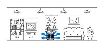 Ilustração doméstica do vetor do condicionador de ar do assoalho Fotografia de Stock Royalty Free