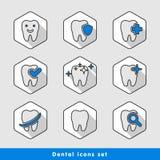Ilustração dos ícones dentais ajustados Imagem de Stock