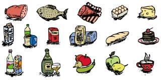 Ilustração dos ícones do alimento Fotografia de Stock Royalty Free