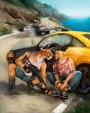 A ilustração dos bandidos foge da polícia ilustração stock
