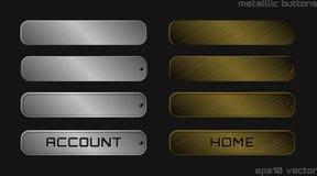 Ilustração dos botões metálicos do prata e os de bronze da Web Fotos de Stock