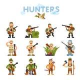 Ilustração dos caçadores no fundo Fotos de Stock Royalty Free