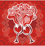 Ilustração dos corações do vinho do amor dos vidros Fotos de Stock Royalty Free