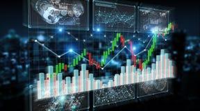ilustração dos dados e das cartas de bolsa de valores da rendição 3D Fotografia de Stock Royalty Free