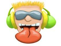 Ilustração dos desenhos animados da cara do DJ com óculos de sol Foto de Stock