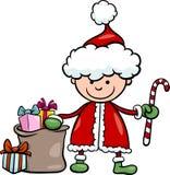 Ilustração dos desenhos animados da criança de Papai Noel Imagem de Stock Royalty Free