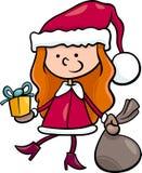 Ilustração dos desenhos animados da criança de Papai Noel Imagens de Stock Royalty Free