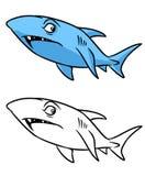 Ilustração dos desenhos animados da página da coloração do tubarão Imagens de Stock Royalty Free