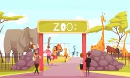 Ilustração dos desenhos animados da porta da entrada do jardim zoológico ilustração royalty free